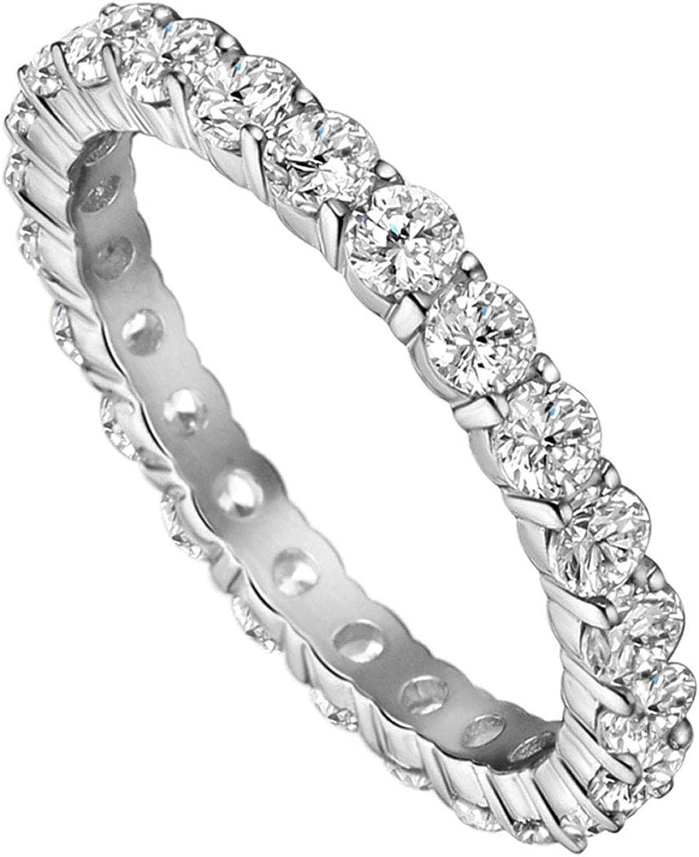Michooyel Max 47% OFF [Alternative dealer] 4mm 925 Sterling Silver Cubic Zirconia Wedding Fu Band