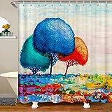 Loussiesd Cortina de baño botánica pintada con árbol colorido para niños Naturaleza baño cortina de ducha tela Set de cortinas impermeables 72 x 84 pulgadas