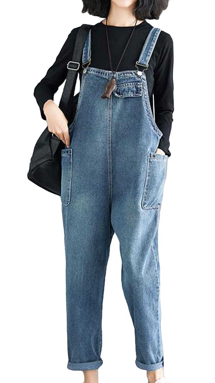 MengFanレディース ジーンズ デニムパンツ サロペット オーバーオール デニム ゆる 大きいサイズ レディース パンツ ロングパンツ 体型カバー サルエル 着痩せ BF風