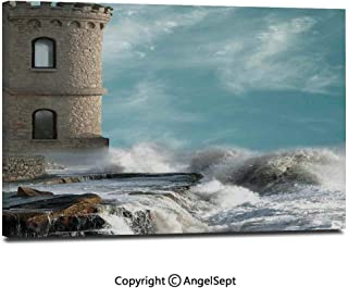 Wall Art Decor High Definition Old Middle Age Tower by The Sea Renaissance Buildings Dreamy Princess Home Print Painting Home Decoration Living Room Bedroom Background,16