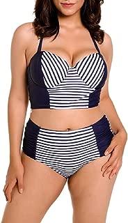 Women's Slim High Waist Plus-Size Allure Stripe Swimsuits Bikini
