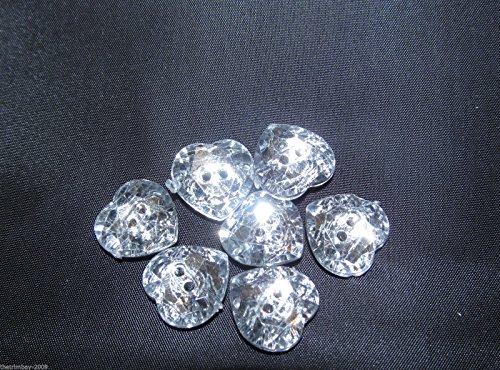 Lot de 5 boutons en acrylique Cœur 32–20 mm