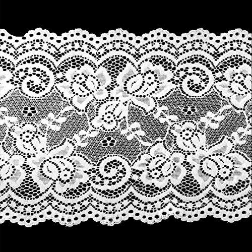 5 yardas 15cm de ancho Cinta Elástica de Encaje Cinta de Encaje Floral Cinta Decorativa de Encaje,Encaje Calado Recorte para manualidades, ropa de costura, decoración de fiestas