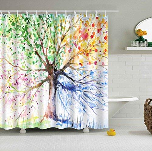 JYSPORT Duschvorhang mit Digitaldruck, antibakteriell, schimmelfest, wasserabweisend, 100% Polyester, waschbarer Stoff, Maße 150x 180cm, Seasons Tree