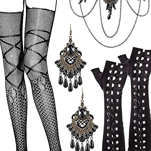 nanxing Joyería victoriana steampunk para mujer con pendientes góticos de gargantilla y guantes para