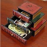 MYITIAN boîtes à Bijoux Sample Bureaux d'étude boîte à Bijoux en Bois tiroir Style européen boîtes de Rangement d'en Forme de Livre créatif