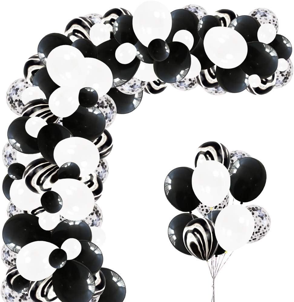 Elecrainbow 120 Pieces White & Black Balloon Arch Garland Kit for Birthday, Graduation, Anniversary, 100 Dots and Balloon Strip Included