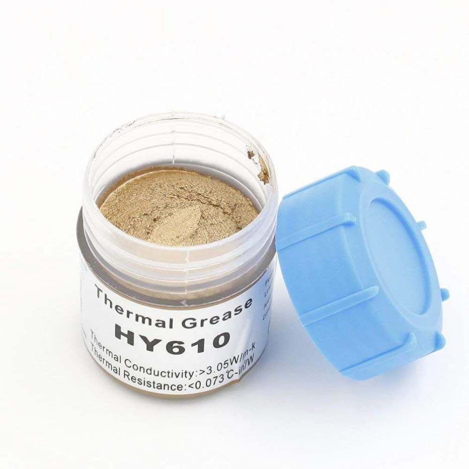 Halnziye HY610-20g Gold Silicone Compound Thermal Grease Paste for PC CPU Heatsink Chipset VGA GPU Ovens Cooling (HY610-20g)