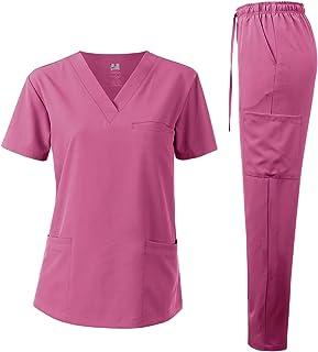 Dagacci Medical Uniform Unisex 4-Way Stretch Scrubs Set Medical Scrubs Top and Pants
