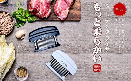 Akicon アキコン 食品級ステンレス製 ミートテンダライザー 肉たたき 肉筋切り器 お肉が柔らかくなる ステーキ料理用 48本刃