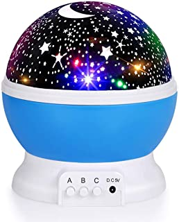 Luckkid Baby Night Light Moon Star Projector 360 Degree Rotation - 4 LED Bulbs 9 Light Color Changing with USB Cable, Uniq...