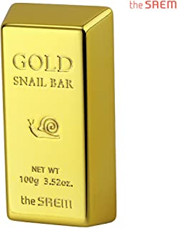 [the SAEM] Gold Snail Bar 100g - Containing 24K Gold and Snail Mucus Extract, Skin Smooth and Moisturizing Cleansing Soap