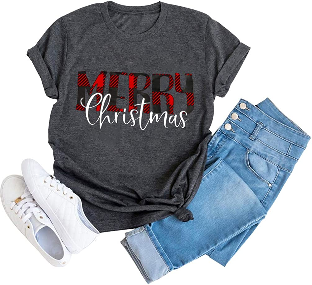 GEMLON Merry Christmas T Shirts for Women Buffalo Plaid Graphic Letter Print Tee Festival Tops Lady Outfit