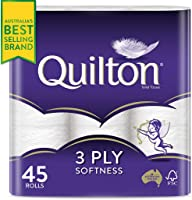 Quilton 3 Ply Toilet Tissue (180 Sheets per Roll, 11x10cm), Pack of 45 (9 Pack x 5 = 45)