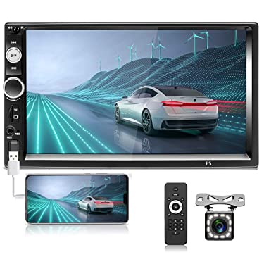 Hikity 2 Din Car Stereo 7'' HD Touch Screen MP5 Player Bluetooth FM Radio Support Phone Mirroring Link with AUX/Dual USB/SD/DVR Input + Backup Camera & Steering Wheel Control (No Android, No GPS)
