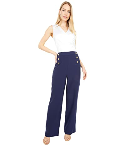 Tahari by ASL Stretch Crepe Two-Tone Nautical Jumpsuit with Button Detail (Navy/Ivory) Women