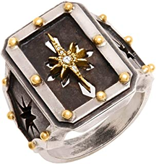 Rustic Finish Vintage Irish Celtic Star Design Ring Sterling Silver and 18K Combination with Natural Diamonds