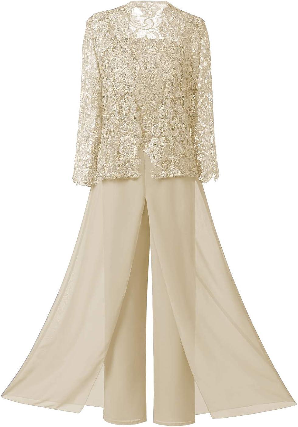 Vincent Bridal Women's 3 Pieces Elegant Lace Mother of The Bride Pant Suits Plus Size Wedding Jumpsuit