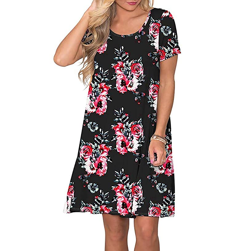 Women Summer Casual Swing Dress Short Sleeve Floral Printed Pockets Sundress