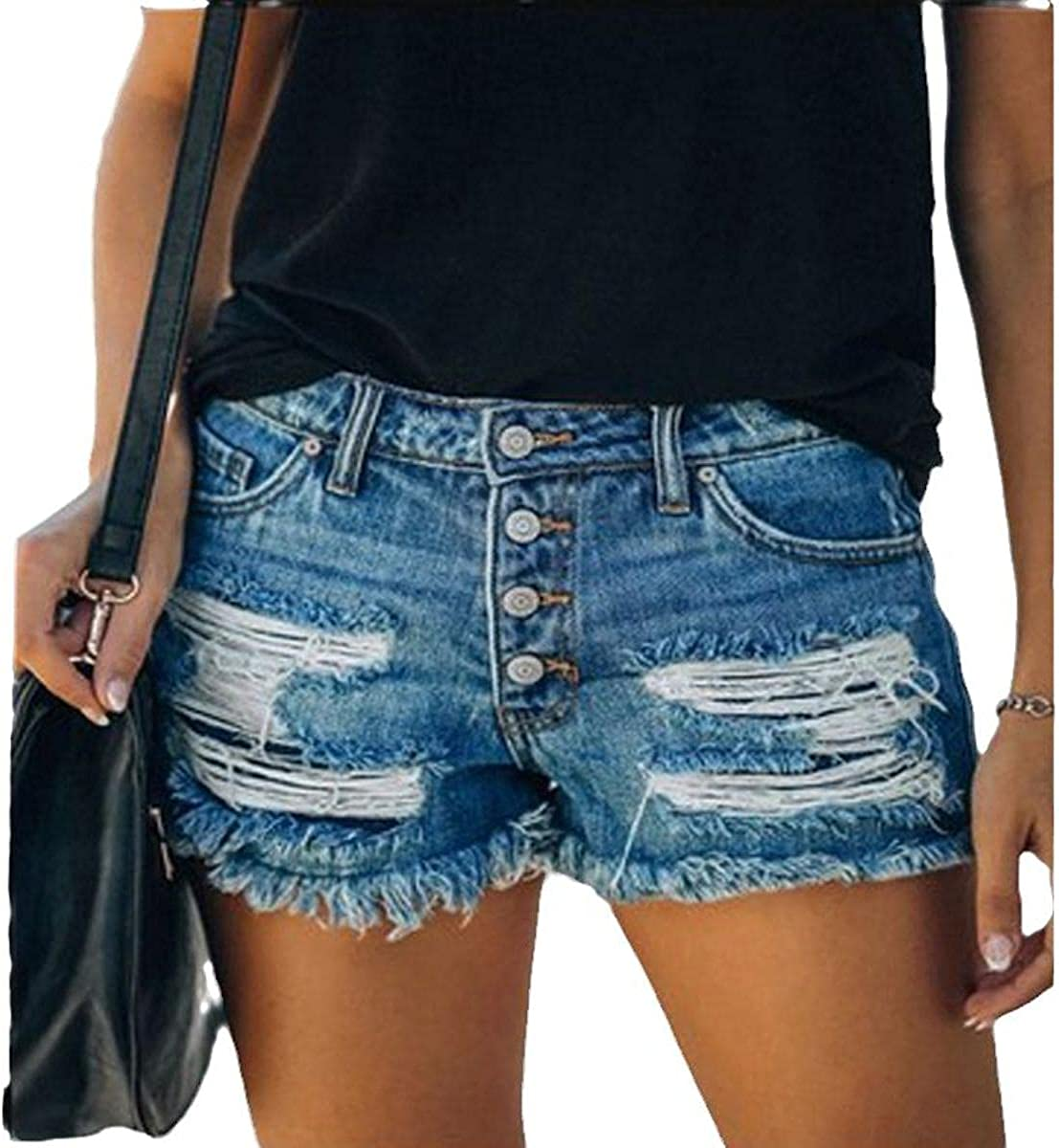 2021 Trend Ripped Fringed Denim Shorts Straight-Breasted Women's hot Pants