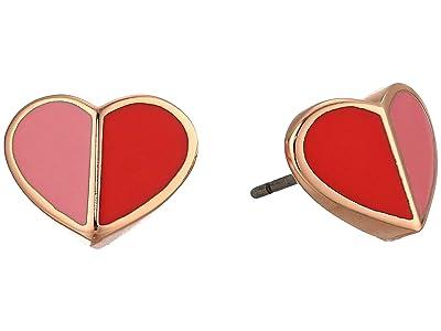 Kate Spade New York Heritage Spade Small Heart Studs Earrings (Pink Multi) Earring