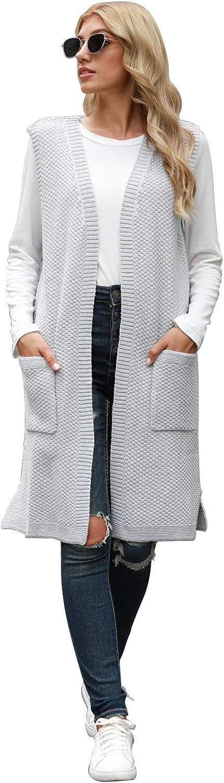Viottiset Women's Open-Front Knitted Long Cardigan Sweater Vest Outwear Coat