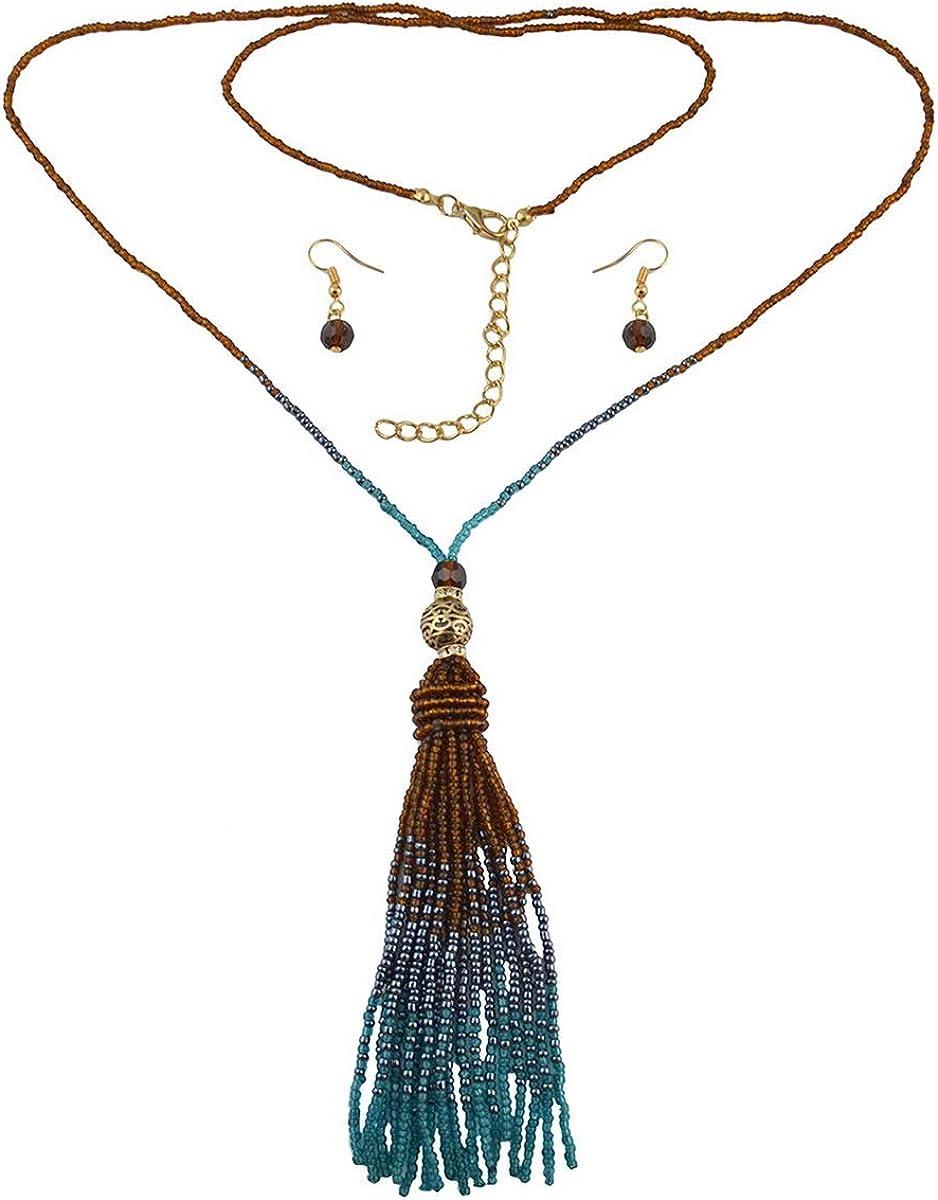 Silver Druzy Glass Bead Tassel Necklace
