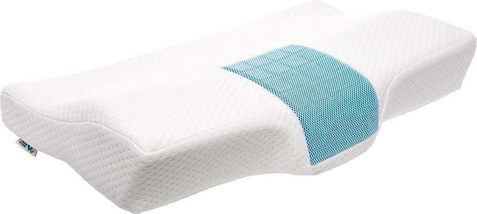 サーカス過度に自治的Mindful Design 整形外科用メモリーフォームネックピロー 首と肩をサポートする輪郭枕 冷却ジェルパネル付き