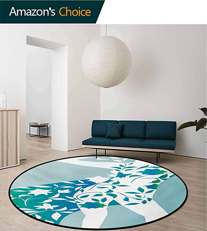 RUGSMAT Floral Modern Washable Round Bath Mat Fashion Woman Girl Body With Flower Petal Leaves Modern Design Model Image Non Slip Bathroom Soft Floor Mat Home Decor Round 31 Inch Turquoise Teal White