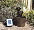 Small Solar Powered Water Feature Zinc Bucket with Cascade PC252