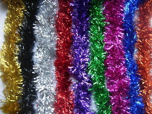3M 2m (6.5 Ft) Christmas Tinsel Tree Decorations Tinsel Garland (red)