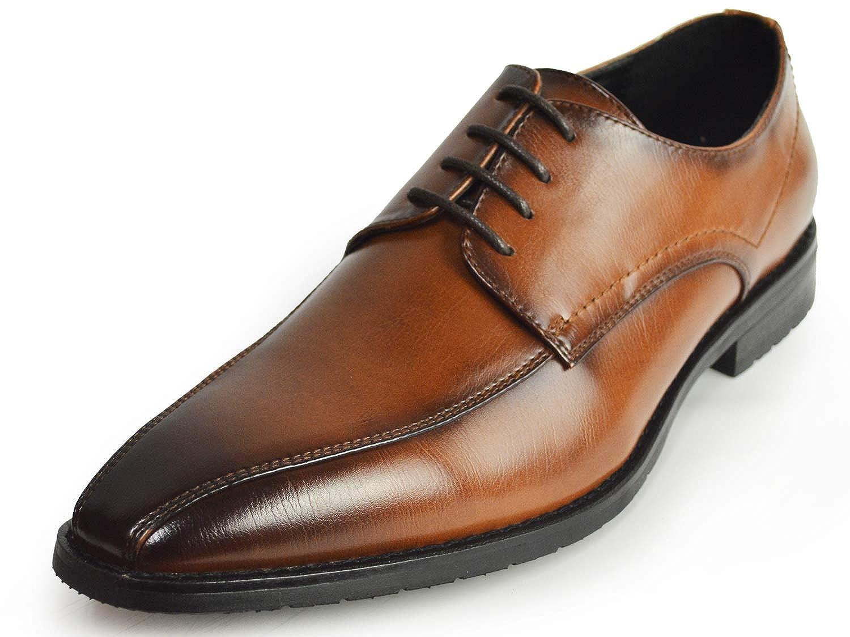 [ジーノ] ビジネスシューズ 靴 革靴 メンズ スワールモカ レースアップ 外羽 ロングノーズ フォーマル 幅広 防滑 紳士靴