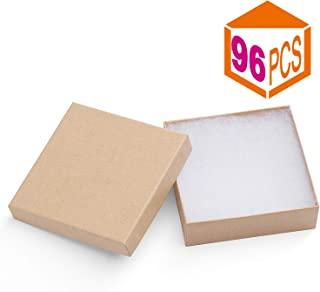 MESHA Jewelry Boxes 3.5x3.5x1 Inches Paper Gift Boxes Natural Cardboard Bracelet Boxes with Cotton Filled (Brown-96Pcs)