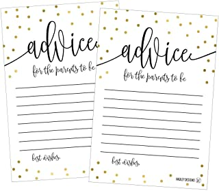 25 Gold New Mommy or Parent Advice Cards For Baby Shower Game Activities Ideas, Expecting Words of Wisdom Message for Pare...