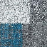 VIMODA Designer Moderner WohnzimmerTeppich in Türkis, Grau und Weiß mit Kachel Optik Kurzflor, Maße:60x110 cm - 5