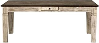 Table à Manger 90x90cm - Bois Massif de manguier ciré (Blanc Antique) - Style Campagne Chic - Castle Antik #110