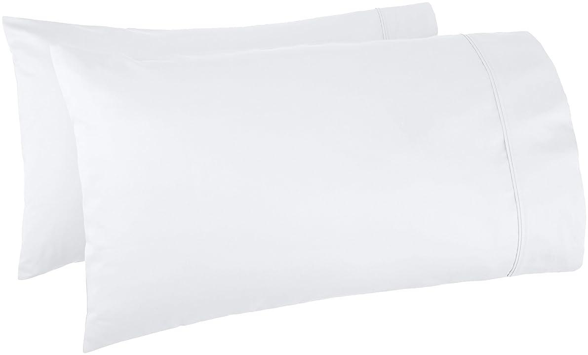 AmazonBasics 400 Thread Count Pillow Cases - Standard, Set of 2, White fnthcrl36