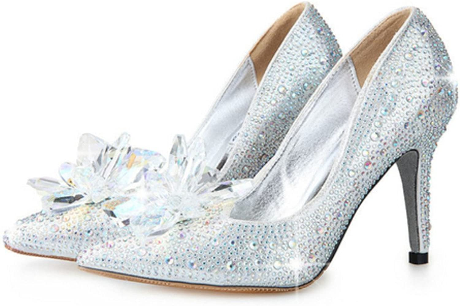 Naly Women's Ken multicolord Cinderella Bridal Bridesmaid Glass Slipper Princess Crystal shoes