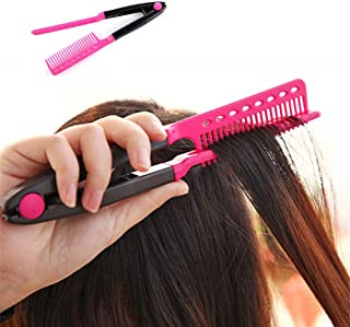 WeTest Upgraded Easy Straightening Hair Comb - Hairdressing Tool for Salon, Home use (Pink) (LJ-ZLK-102901)