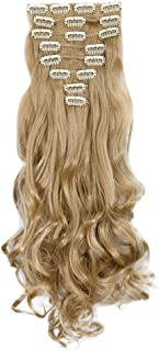 Haironline 3-5 Days Delivery 8Pcs 18 Clips 24 Inch Curly Straight Full Head Clip in on Hair Extensions Hairpiece