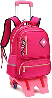 GLJJQMY Travel Backpack Men and Women Detachable Backpack Cart Large Capacity Waterproof Three-Wheeled Stairs Student Children's Trolley Bag Trolley Backpack (Color : Rose, Size : Pink(42x20x30cm))