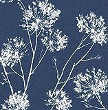 NextWall One O'Clocks Botanical Peel and Stick Wallpaper (Denim Blue)
