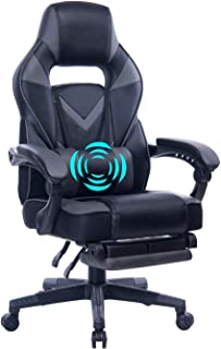 HEALGEN Reclining Gaming Chair with Adjustable Massage Lumbar Pillow and Footrest- Memory Foam PC Computer Racing Chair - Ergonomic High-Back Desk Office Chair GM005-Grey
