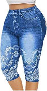 Summer Ladies Shorts Loose Casual Woman Jeans Plus Size 3D Floral Print Jeggings Denim Leggings