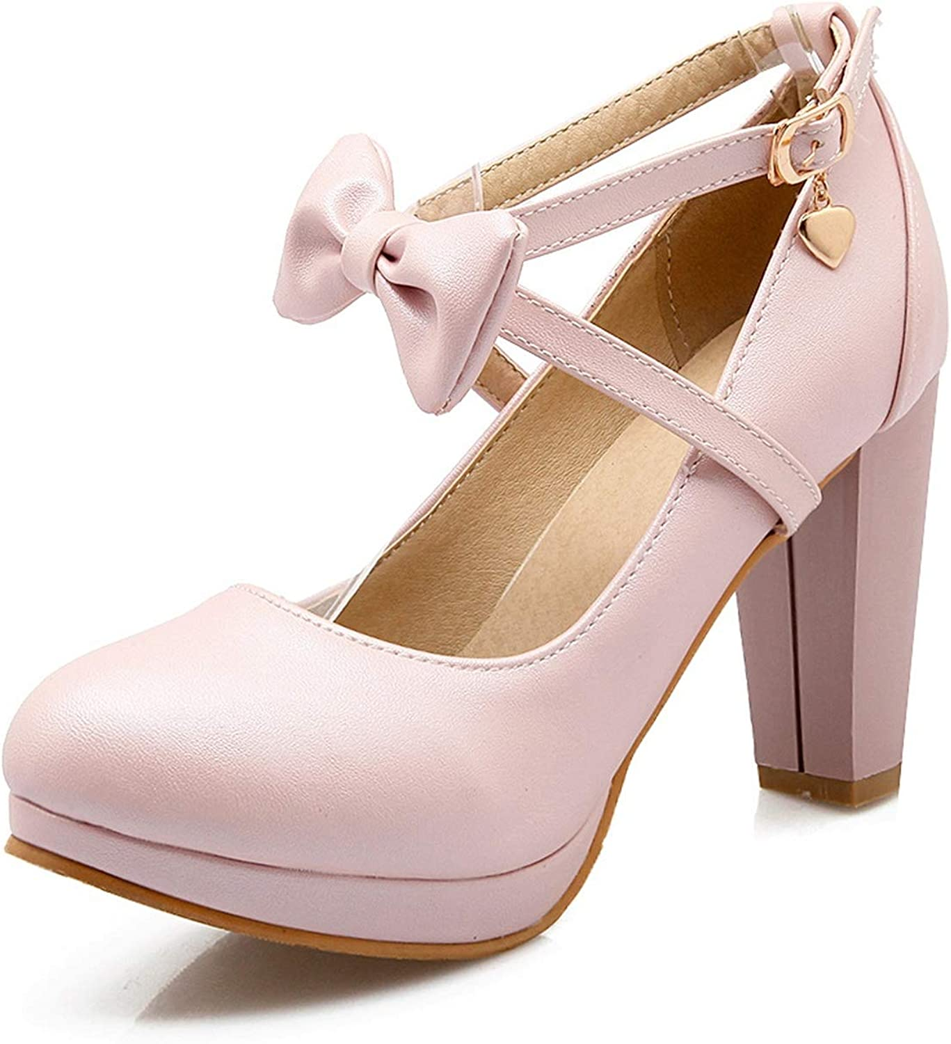 Sweet Cross Lacing High Heels Bow Buckle Belt Shallow Mouth Single shoes 42 43 Thick Heel