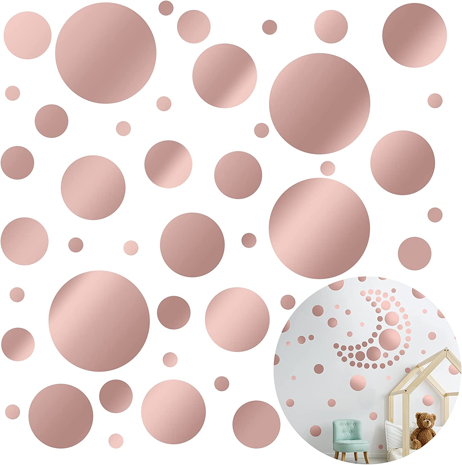 264 Pieces Polka Dot Wall Decals Dot Wall Stickers Peel and Stick PVC Dot Wall Decor for Kids Baby Bedroom Living Room Nursery Home Decorations (Rose Gold)