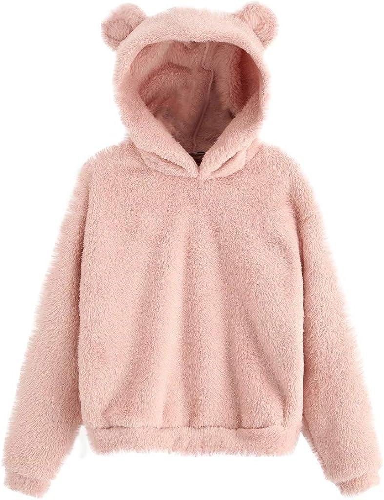 GIFED Womens Plush Sweater Coat Cute Bear Ears Double Fuzzy Fleece Hoodies Casual Outwear Pullover Warm Sweatshirt