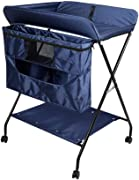 Changing Table Portable Baby  Large Space Diaper Changing Station with Storage  Nursery Organizer for Infant 0-3 Years Old  Blue