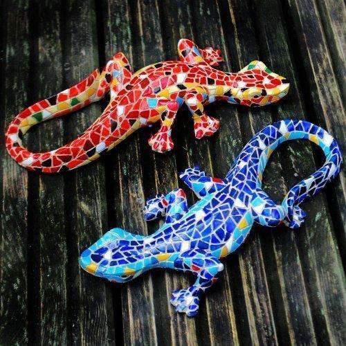Gardens2you - Coppia di lucertole decorative da giardino, montabili su muro, in mosaico colorato