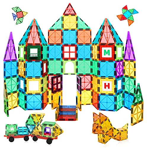 MagHub 150PCS Kids 3D Magnetic Building Blocks, Magnetic Tiles Shape Set, Magnet Toys with 2 Cars, Construction Playboards kit, Learning Educational Gifts for Preschool Toddler Children